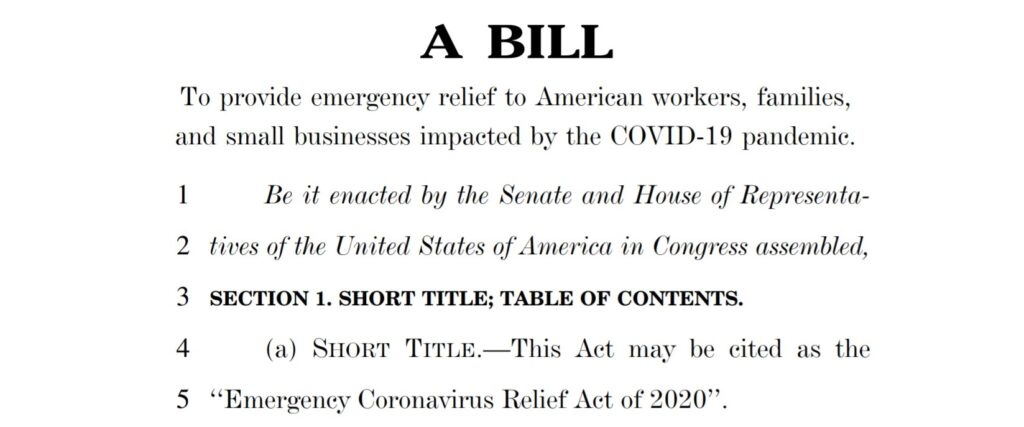 Emergency Coronavirus Relief Act of 2020