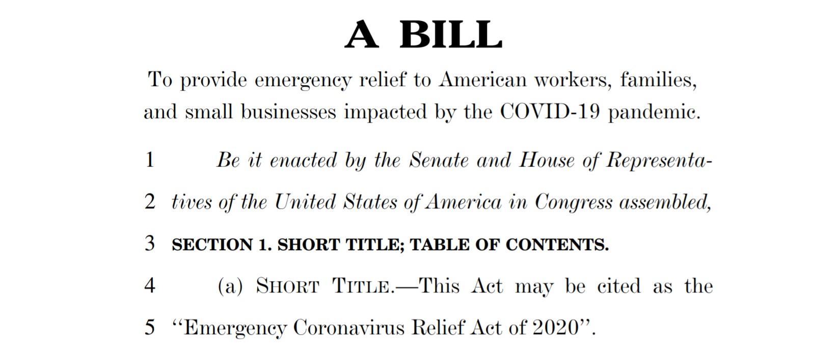Emergency Coronavirus Relief Act of 2020